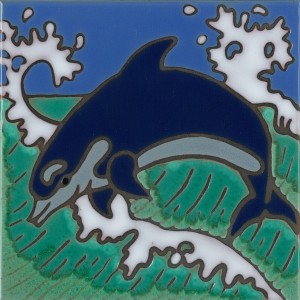 Dolphin - Hand Painted Art Tile