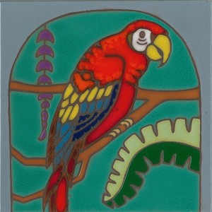 Red Parrot - Hand Painted Art Tile