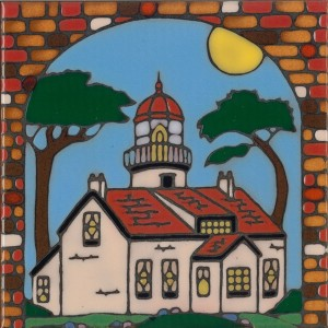 Lighthouse at Point Pinos - Hand Painted Art Tile