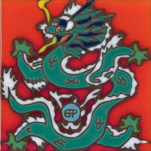 Tibetan Dragon - Hand Painted Art Tile